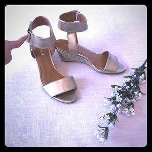 "Nine West ""Riley"" Gold Wedge Sandals"